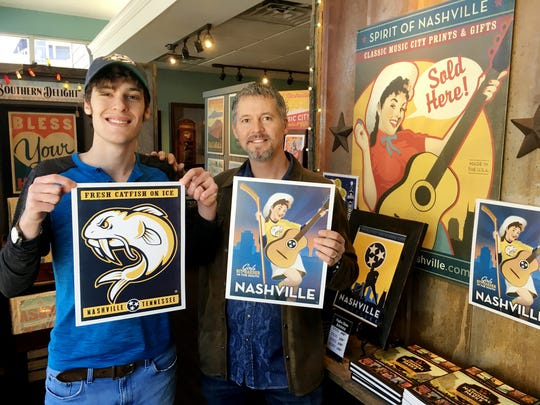 Joel and Nathan Anderson of Anderson Design Group show off two of their new hockey posters.