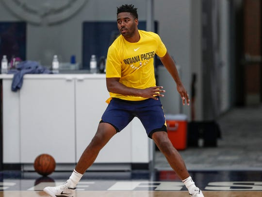 Former Butler forward Kelan Martin makes a cut during an NBA pre-draft workout for the Indiana Pacers at the St. Vincent Center on Tuesday, June 19, 2018.
