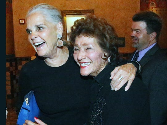 Ali MacGraw greets Mary Jane Garcia, an old friend and former New Mexico state senator upon MacGraw's arrival at the Plaza Theatre on Friday night.