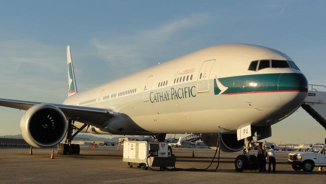 A Cathay Pacific Boeing 777-300 jet at Los Angeles International Airport on Jan. 28, 2012.