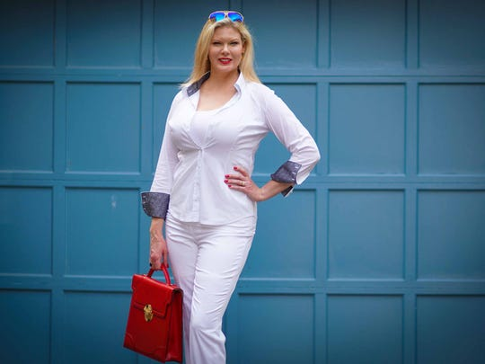 Catherine Short wears white slim-fit pants from White House Black Market; white ribbed cotton tank by Felina; and white cotton blouse by George Roth from entreDonovan.