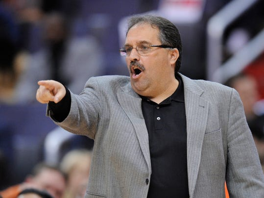 In this April 10, 2012, photo, then-Orlando Magic coach Stan Van Gundy gestures during the Magic's NBA basketball game against the Washington Wizards in Washington. A person with knowledge of the details says Van Gundy has agreed to a $35-million, five-year contract to be the Detroit Pistons' coach and president of basketball operations.  Detroit gave Van Gundy the powerful combination of jobs on Tuesday, May 13, 2014, the person told The Associated Press on condition of anonymity because the deal had not been announced. (AP Photo/Nick Wass)