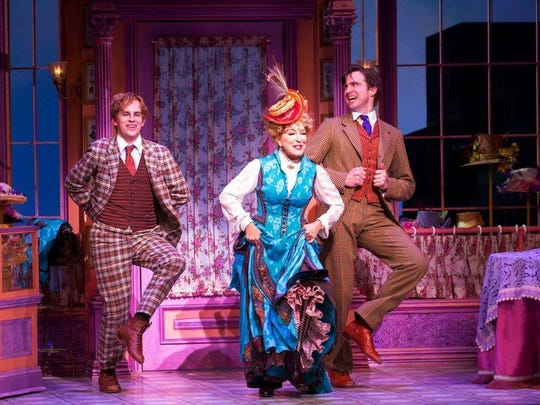 "Taylor Trensch (left) Bette Midler and Gavin Creel in a scene from ""Hello, Dolly!"""