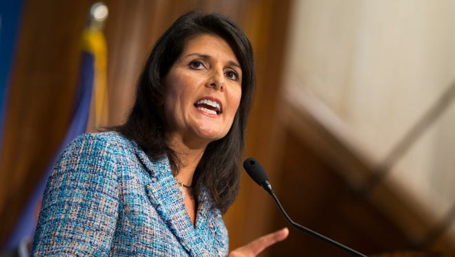 """Gov. Nikki Haley, R- S.C., delivers a speech on """"Lessons from the New South"""" during a luncheon at the National Press Club, on Sept. 2, 2015, in Washington."""