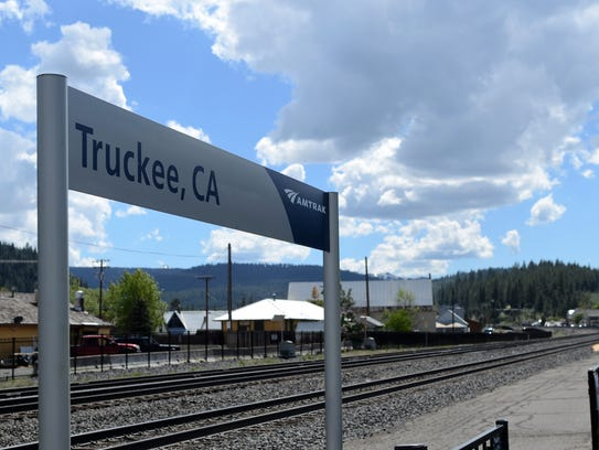 A sign near the Truckee Amtrak station marking the