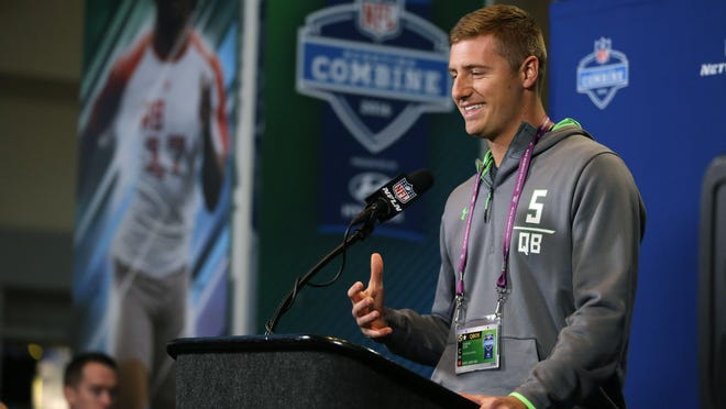 Michigan St. quarterback Connor Cook speaks during a press conference at the NFL football scouting combine in Indianapolis, Thursday, Feb. 25, 2016.