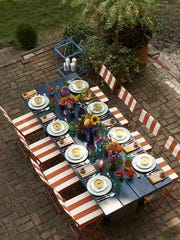 """An outdoor dinner setting in the Hudson Valley from """"Designing Life's Celebrations."""""""