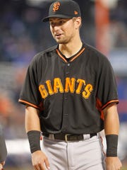 Joe Panik of the San Francisco Giants is shown before the NL Wild Card game against the Mets at Citi Field.