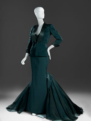 Dress and Jacket, 2011, by Zac Posen (American, born 1980). Silk taffeta and organdy. Lent by Costume Collection of Glenn Close. Part of the exhibit 'Hollywood Red Carpet' at Phoenix Art Museum.