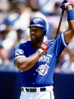 Toronto Blue Jays outfielder Joe Carter on deck during the 1996 season at the Skydome.