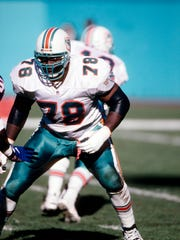 Dec 8, 1996; Miami, FL, USA; Miami Dolphins tackle Richmond Webb (78) in action against the New York Giants at Dolphin Stadium. FILE PHOTO; Mandatory Credit: USA TODAY Sports
