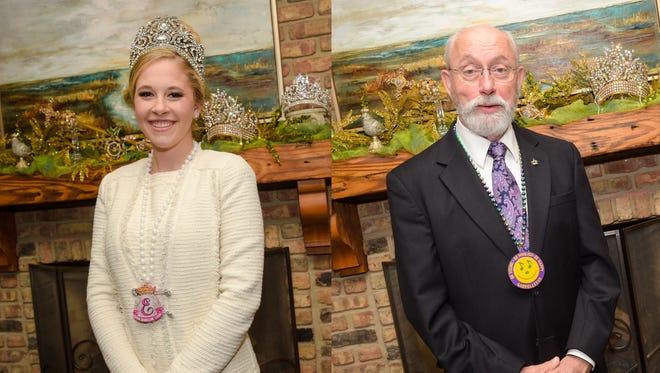 """King Gabriel LXXVII, Dewitt Clinton David Jr., and Queen Evangeline LXXVII Katherine Elise """"Katie"""" Blanchet."""