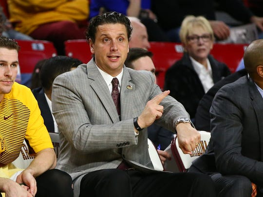 Arizona State assistant coach Barret Peery in a February 2015 game against UCLA.