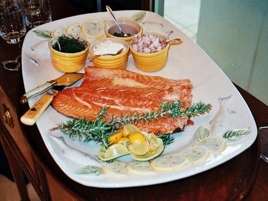Smoke salmon platter.