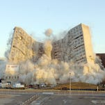 The Baptist Memorial Hospital Medical Center building is imploded on Sunday, Nov. 6, 2005, in Memphis, Tenn., to make way for the Memphis Biotech, a new medical research park. The hospital was once the world's largest private hospital, the birthplace of Lisa Marie Presley, and the hospital where Elvis Presley was pronounced dead. (AP Photo/Greg Campbell) ORG XMIT: TNGC106
