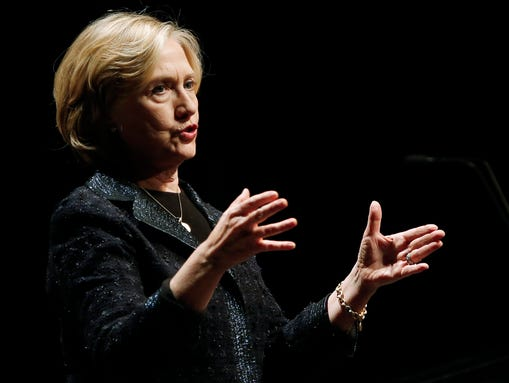 Hillary Rodham Clinton speaks at a Winnipeg Chamber