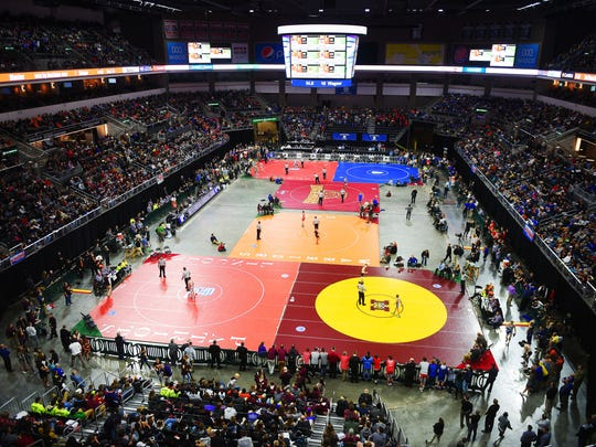 2018 SDHSAA State Wrestling Championships Saturday, Feb. 24, at the Denny Sanford Premier Center in Sioux Falls.