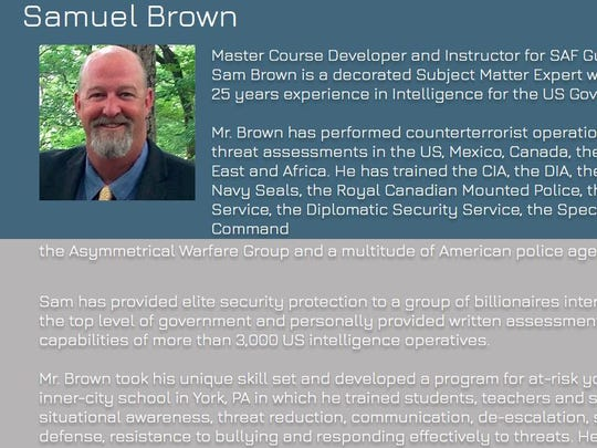 A screenshot of Samuel Brown's online company profile. Brown was one of three principals from GeoSource that was supposed to provide homeland security training to Helen Thackston Charter School.