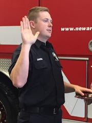 Patrick Johnson sworn in Monday as a Newark firefighter
