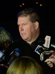 Frederick police Capt. Richard L. Hetherington talks to the media about a shootings outside Frederick High School, Wednesday, Feb. 4, 2015, in Frederick, Md. Police and school officials said students were shot outside the school while a basketball game was being played inside.