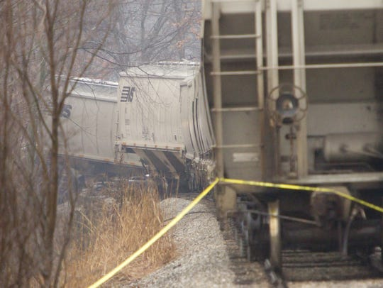 Caution tape at the south end of the derailment and