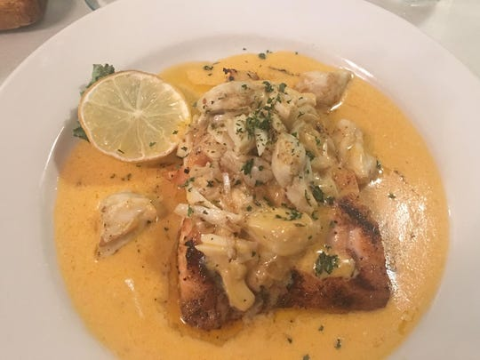 Salmon with crabmeat at Anthony's Steakhouse.