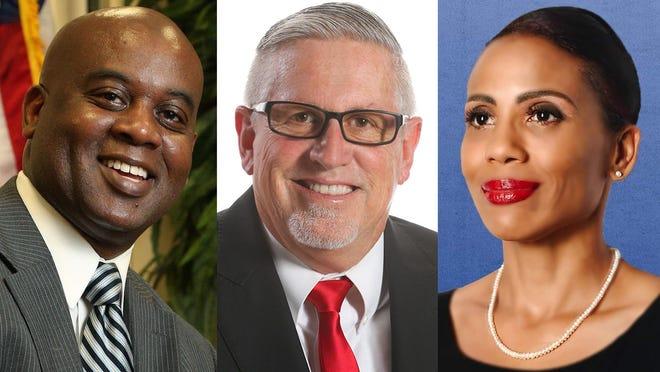 From left: Daytona Beach Mayor Derrick Henry, Daytona Beach mayoral candidate Ken Strickland and Daytona Beach mayoral candidate Sherrise Boyd.