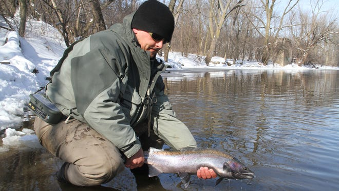 Tim Hyvonen of Oak Creek releases a steelhead in the Milwaukee River. Keeping a fish in the water as much as possible as it is unhooked and photographed increases the chances it will survive to spawn and fight another day.