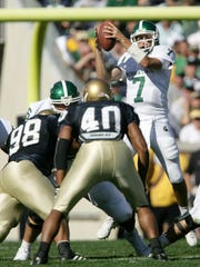 Quarterback Brian Hoyer (7) threw four touchdown passes in Michigan State's 31-14 win over Notre Dame on September 22, 2007 in South Bend, Indiana.