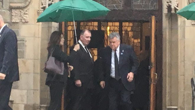 Congressman Peter King, R-N.Y., leaves the funeral Mass for former Dodgers and Yankees pitcher Ralph Branca at Resurrection Church in Rye, Tuesday, Nov. 29, 2016.