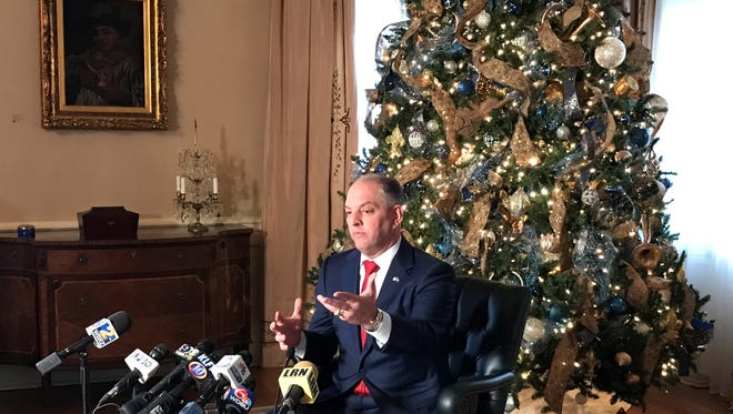 Gov. John Bel Edwards held his final press conference of the year Wednesday in the Governor's Mansion.