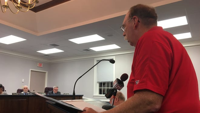 """David Geiger, a Waynesboro """"Tree Streets"""" resident, objects to the city's proposed plan to bring the South River Greenway through his neighborhood at the Waynesboro City Council meeting on Monday, Oct. 23, 2017."""