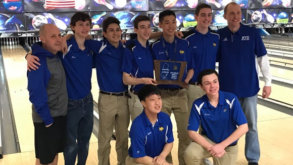"""Sparked by a pair of 300 games from """"The Tse Hey Kid"""" (third from right), the NV/Demarest boys bowling team captured its first North 1A, Group 3 sectional title in 2018."""