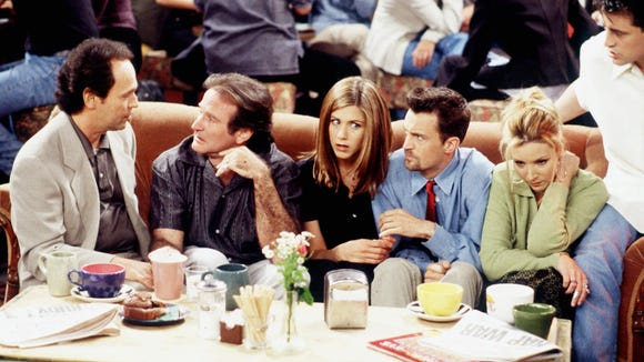 """Wait, that's not Ross! Billy Crystal and the late Robin Williams make an appearance in an episode of the hit comedy """"Friends.''"""
