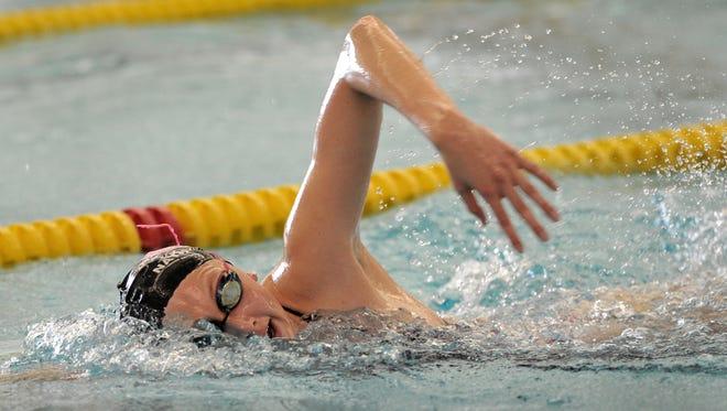 Amy Bilquist swimming in July, 2014.