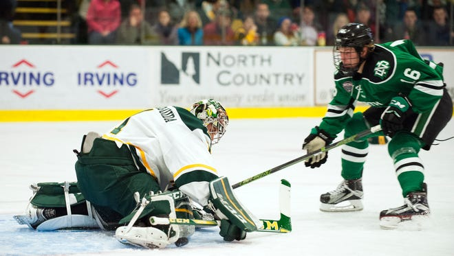 Catamount goalie Mike Santaguida (1), seen in action earlier this season, was injured in UVM's loss Saturday.