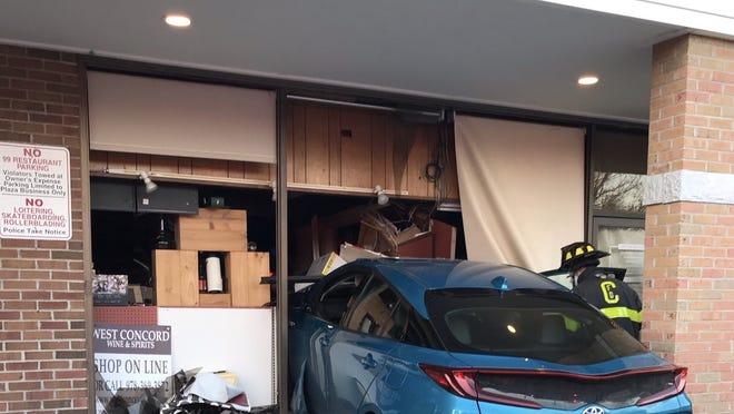 A female driver in her 70s suffered non-life-threatening injuries after crashing her car into West Concord Wine and Spirits on Nov. 9.