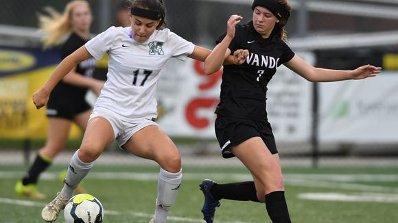Junior midfielder Aliyah Milicia (17) and the J.L.