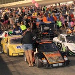 Cars and fans fill the track at Chemung Speedrome during a recent race night.