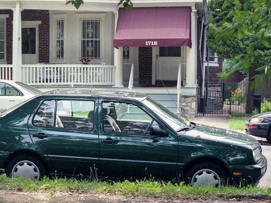 Anne Marie Fahey's Volkswagen Jetta is parked outside her apartment on Washington Street in Wilmington on July 2, 1996.