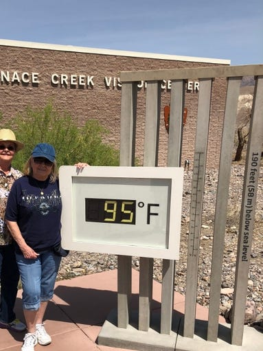 Dorris and Bobbi in front of the Furnace Creek Visitor