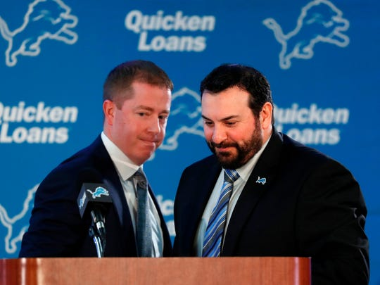 Lions general manager Bob Quinn, left, did not know about the indictment before he hired Matt Patricia, the team said. The two worked together at the Patriots.