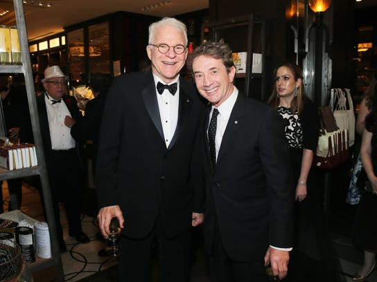 Comedians Steve Martin (L) and Martin Short attend