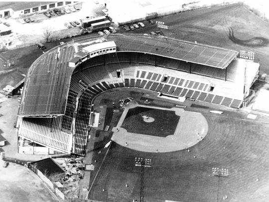 An aerial view of Silver Stadium on Norton Street from 1988. The ballpark was home to the minor league Rochester Red Wings from 1929 to 1996. Aerial view of Silver Stadium on Norton St.