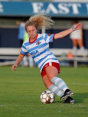 Lansing United's Dani Stephan controls the ball against