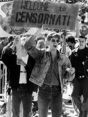 "Sept. 24, 1990: A protester carries a sign that reads ""welcome to Censornati."""