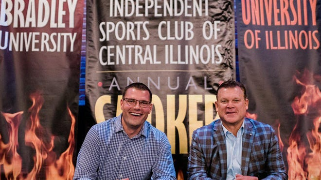 Bradley basketball coach Brian Wardle, left, and Illinois basketball coach Brad Underwood pose after the 2019 Independent Sports Club's annual smoker. The 2020 edition has been canceled.