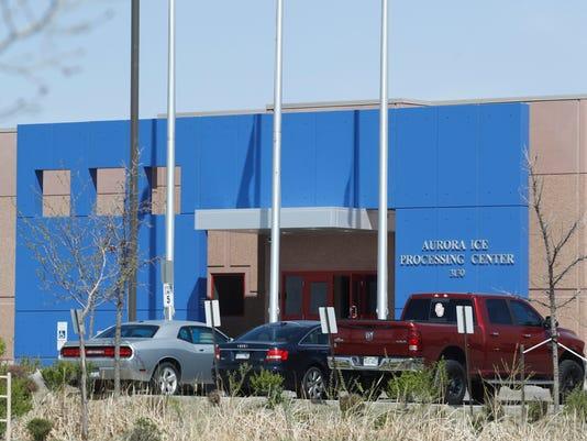 ICE detention center entrance in Aurora, Colo.