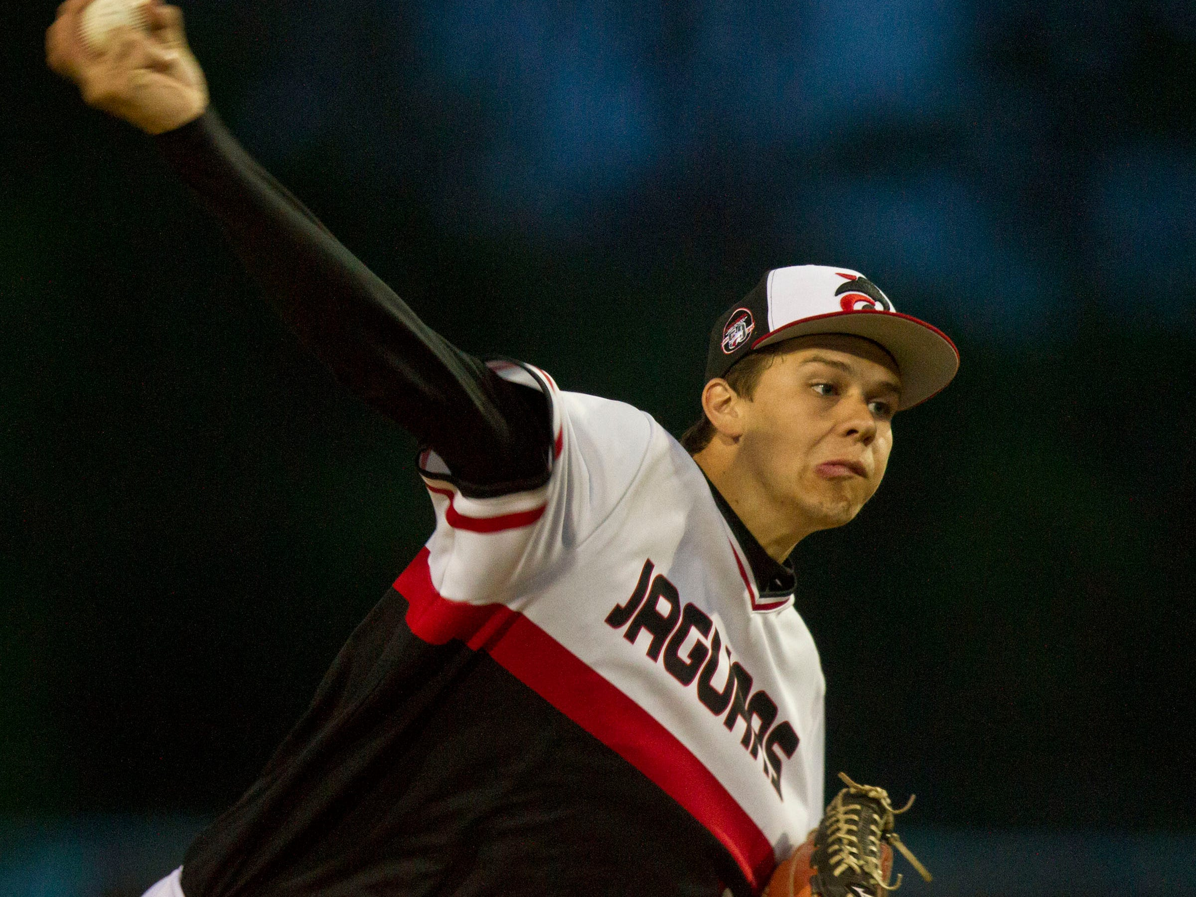 Jackson Memorial's starting pitcher Ryan Takas. The Ocean County Tournament championship game between Barnegat and Jackson Memorial takes place at Toms River High School East. Toms River, NJ Thursday, May 14, 2015 Doug Hood/Staff Photographer @dhoodhood