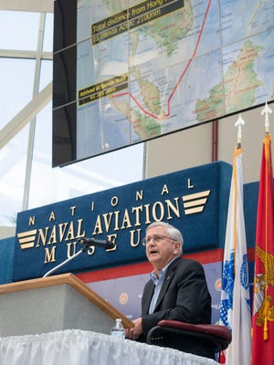 Vice Admiral Doug Crowder, USN (Ret.) talks about their reponse to the 2004 tsunami during the Leadership Under Adversity Panel Discussion at the Leadership in the 21st Century Symposium at the National Naval Aviation Museum in Pensacola on Thursday, May 10, 2018.